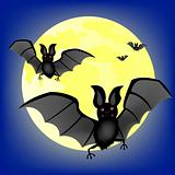 Moon night and bat vampire