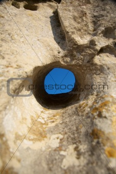 blue circle stone hole