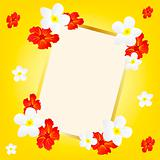 Yellow background with flower and frame