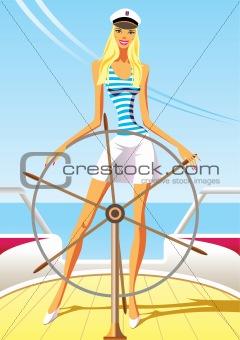 beautiful woman on the luxury yacht