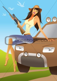 huntress sitting on an offroad car