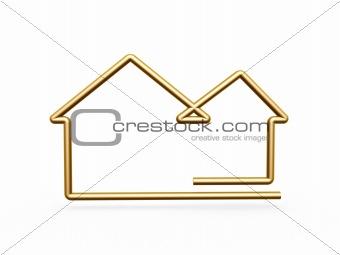 3d gold line house symbol
