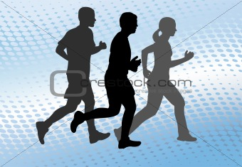 runners on the abstract background