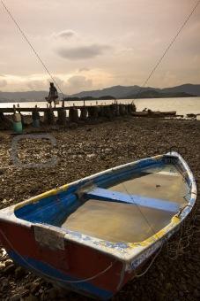 fish boat and wood bridge