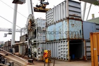 cargo cranes at harbor