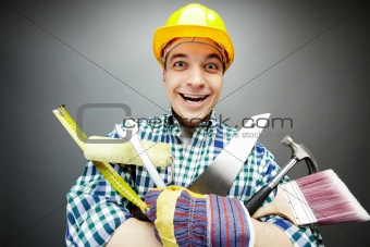 Repairman with tools