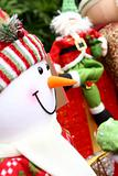 Christmas background with Santa and snowm