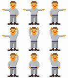 Vector pixel art - set of gesticulating people