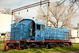Blue ukrainian train. East Europe.