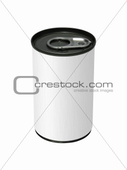 blank can and ring pull isolated on white background
