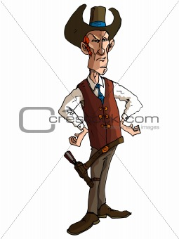 Cartoon cowboy with a gun belt and cowboy hat