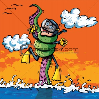 Cartoon diver attacked by tentacle