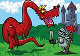 Cartoon knight facing a big red dragon
