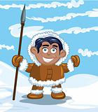 Cartoon eskimo with a spear