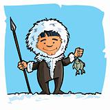 Cartoon eskimo with a spear and a fish