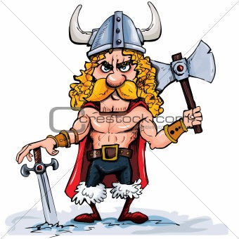 Cartoon viking with a big axe