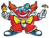 Cartoon clown with umbrella
