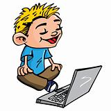 Cartoon of boy working on a laptop