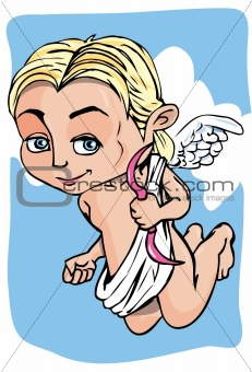 Cartoon cupid with bow and wings