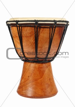 Bamboo drum on the white background