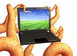 Tentacles of a monster, holding a laptop