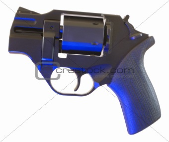 Black gun with blue hightlights