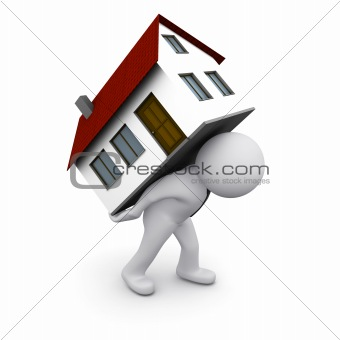 3D man with a house