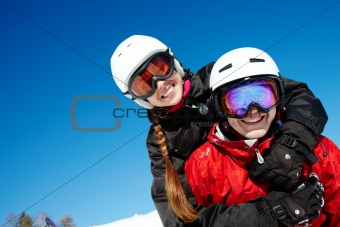 Couple of snowboarders