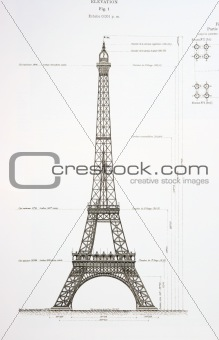 Old draft of the Eiffel Tower