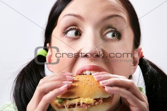Eating hamburger