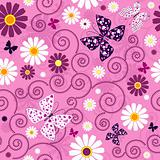 Pink seamless floral pattern
