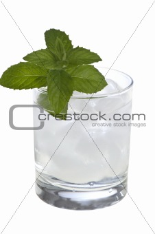 water with mint and ice