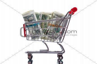 Market cart with money