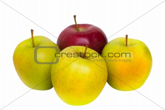 one red apple and three yellow apples