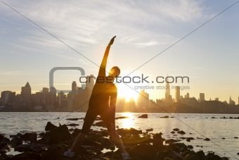 Woman Runner Yoga Stretching Manhattan Skyline Sunrise New York