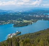 Panorama of Lake Worthersee, bird&#39;s-eye view, Austria