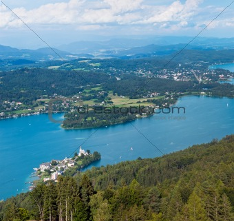 Panorama of Lake Worthersee, bird's-eye view, Austria