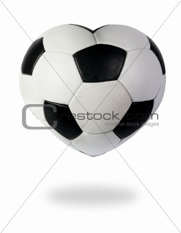 Heart as black white soccer ball