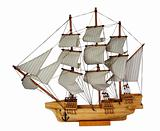Model of ship with sails on the white background