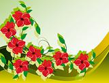 Abstract background with red flower
