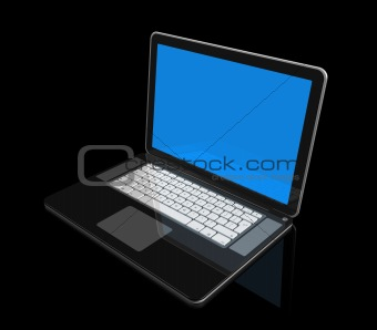black Laptop computer isolated on black