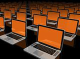 Laptop computers isolated on black