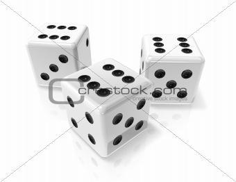 three white win dices
