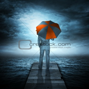 Businessman & Storm at Sea