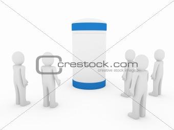 3d human men blue banner