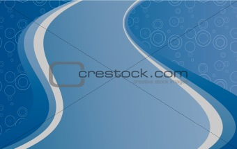 Blue background with circle.