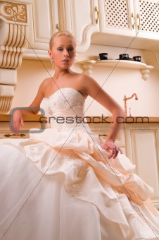 bride in the kitchen