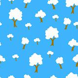 Seamless tree plant  pattern background in vector