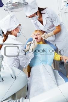 Girl in dentist's office