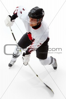 Playing ice hockey